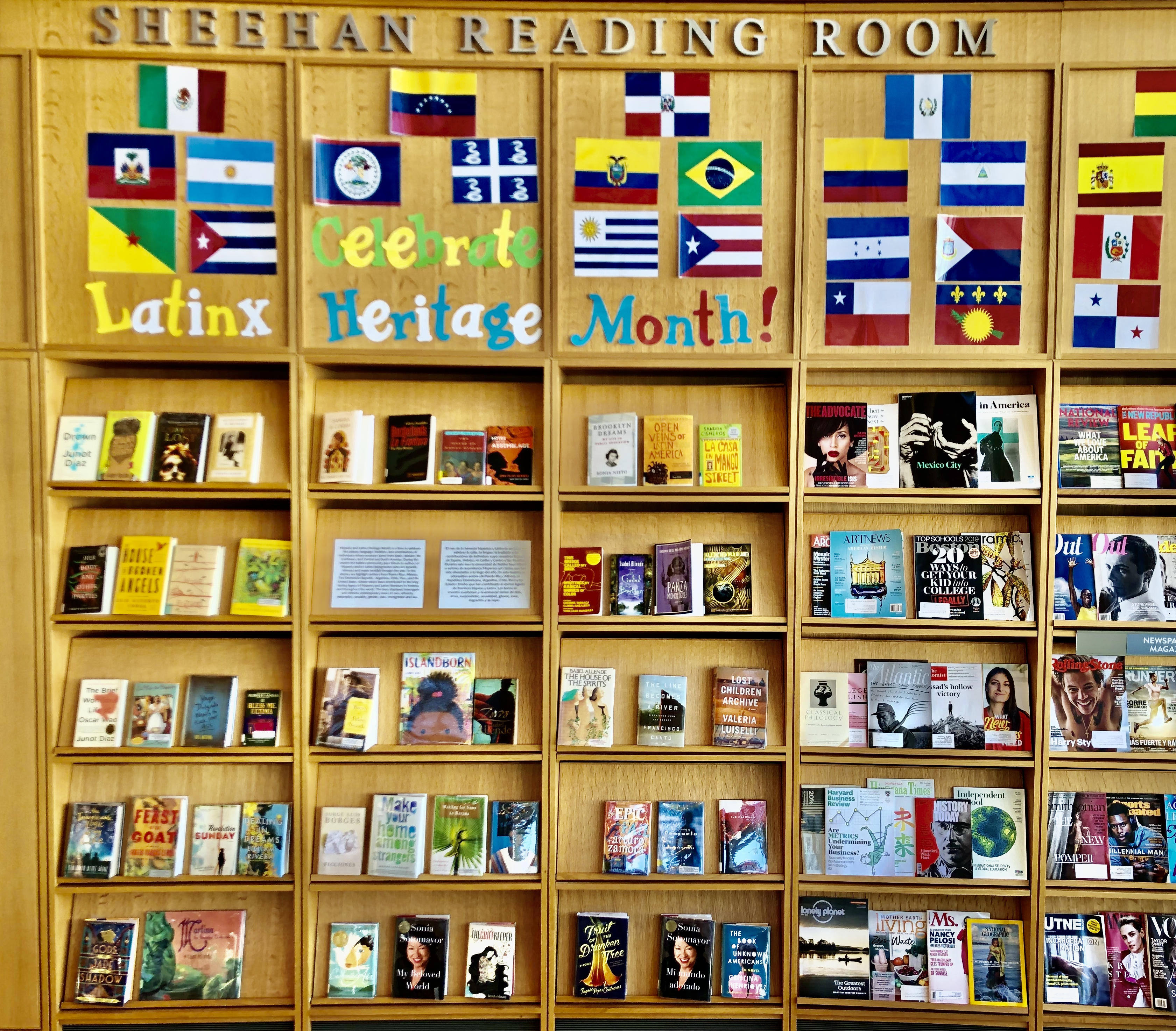 Putnam Library display for Latinx/Hispanic Heritage Month