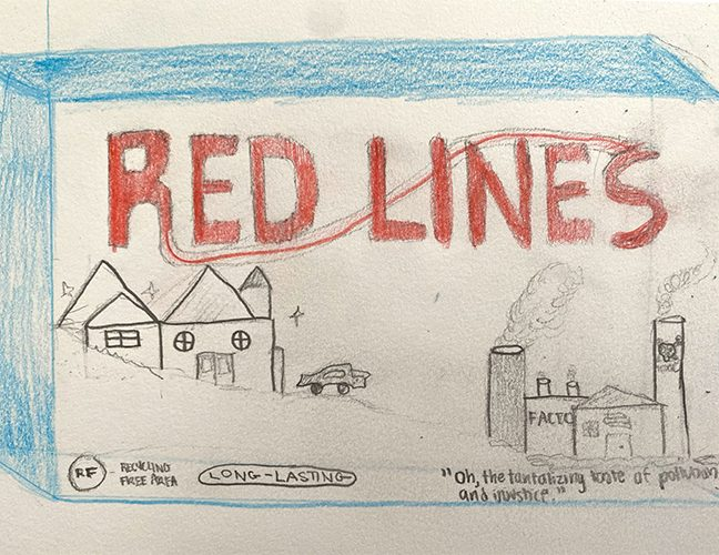 Middle school artwork about redlining