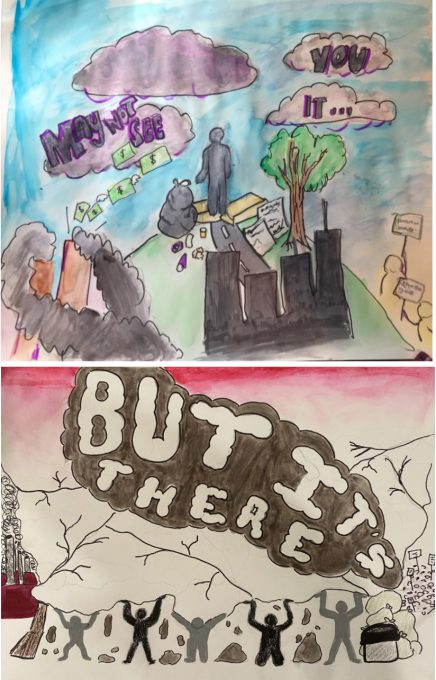 Middle school artwork for RIPS project 2021 depicting the threat of invisible social injustice