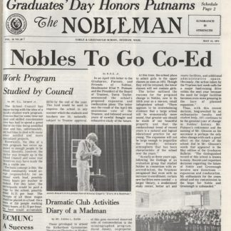 May 1971 Nobleman front page announcing decision to go co-ed
