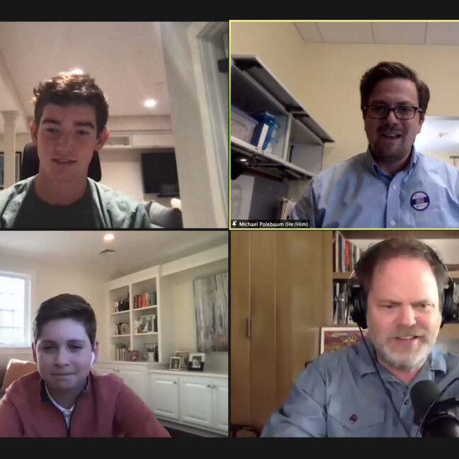 Rainn Wilson, Michael Polebaum, Oliver Burstein and James O'Connor during Zoom assembly on APril 14, 2021