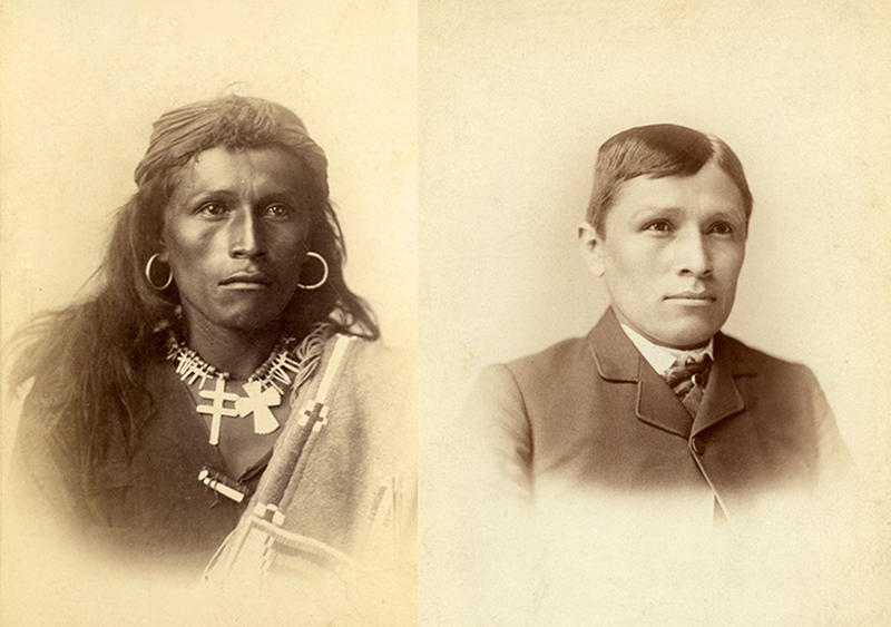 Carlisle Indian School photo from nps.gov showing assimilation of a young Indigenous boy